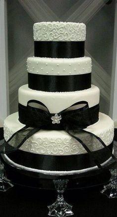 Elegant black and ivory wedding cake by letha Ivory Wedding Cake, Fall Wedding Cakes, Wedding Cakes With Cupcakes, Elegant Wedding Cakes, Beautiful Wedding Cakes, Wedding Cake Designs, Beautiful Cakes, Cupcake Cakes, Elegant Cakes