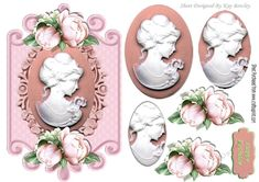 pretty cameo lady with peach roses on a plaque, oval pyramids makes a pretty card, can be seen in other colours and designs