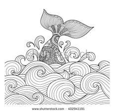 Whale tail in the wavy ocean line art design for coloring book fro adult,sign, logo, T-shirt design, card and design elelment Mandala Art, Mandala Design, Tattoo Whale, Adult Coloring Pages, Coloring Books, Colouring, Doodle Coloring, Posca Art, Line Art Design