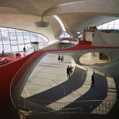 The TWA Terminal- Eero Saarinen  Interior Rendering by  Ezra Stoller