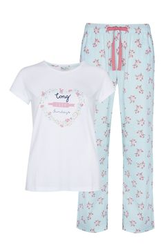 Pijama com padrão floral de verão azul Cute Sleepwear, Sleepwear & Loungewear, Lingerie Sleepwear, Nightwear, Pajamas All Day, Pajamas Women, Night Pajama, Pajama Set, Traje Casual