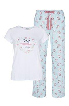 Pijama com padrão floral de verão azul