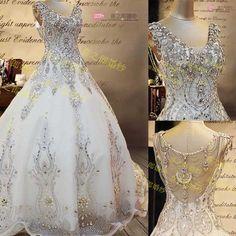 Wedding Dress Customize Luxury Crystal Big Train Bride Tube Top Sweet 13132