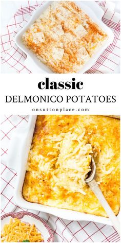 Classic Delmonico Potatoes recipe is a make-ahead casserole and the perfect side dish for beef, pork, or chicken. Easy, & so delicious! Shredded potato casserole. Bean Recipes, Side Dish Recipes, Potato Recipes, Casserole Dishes, Casserole Recipes, Potato Casserole, Mama Eat, Vegetable Side Dishes, Vegetable Recipes