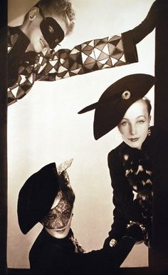 Elsa Schiaparelli, COMMEDIA DELL'ARTE collection, spring 1939, buttons and costume jewelry by Jean Schlumberger, photographed by Erwin Blumenfeld, Vogue US, December 1938