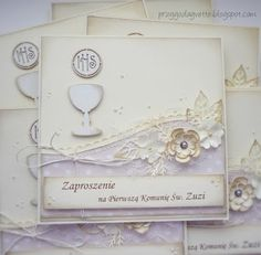 The first Holy Communion - invitation First Communion Cards, Holy Communion Invitations, Christening Invitations, First Holy Communion, Confirmation Cards, Baptism Cards, Christian Cards, Cardmaking, Quilling