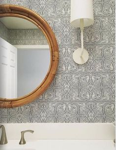Quadrille wallpaper at discount prices. Quadrille wallpaper has a love for big and bold patterns. is your authorized dealer for Quadrille wallpaper. Circa Lighting, Sconce Lighting, Bathroom Lighting, Kitchen Lighting, Kitchen Wallpaper, Wall Wallpaper, Bohemian Wallpaper, Storage Cabinets, Small Bathroom