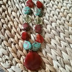 Pretty turquoise and cinnamon color necklace. This statement necklace will set off your summer wardrobe.   A great addition to all your outfits, dressy or casual. Jewelry Necklaces