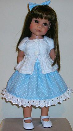 Dress cardigan & hair bow for Gotz Hannah & Designafriend by Vintagebaby