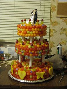Wedding cake made out of fruit