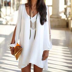 Shop The Look Boho Chiffon dress Look Boho, White Chiffon, Street Style, Looks Style, Mode Style, Elegant Woman, Look Fashion, Fashion Women, Fashion Online