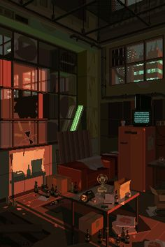 The best collection of cyberpunk 8-bit animated pixel art, portraying a dark, rainy, lonely dystopian future.