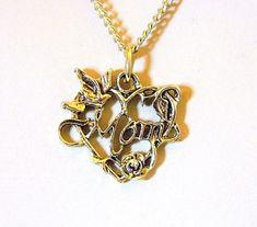 VTG Mom Ornate Heart Choker Pendant Necklace Mother's Valentine's Day Gift  #Choker