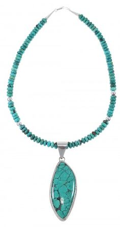 Sterling Silver And Turquoise Navajo American Indian Bead Necklace Set AX77143