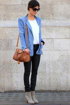 long denim blazer, black or burgundy skinnies.