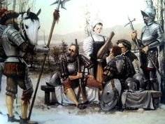 Spanish arquebusiers and a landsknecht, left, first quarter of the 16th century, Cabrera Peña