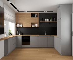 Mieszkanie w Krakowie on Behance Kitchen Island Decor, Modern Kitchen Cabinets, Kitchen Cabinet Colors, Home Decor Kitchen, Kitchen Interior, Open Plan Kitchen Living Room, Kitchen Room Design, Best Kitchen Designs, Modern Kitchen Design