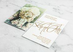 Gold Foil on Cream Paper / Floral Prints / Celadon Silk Pocket / Blush & Gold / Wedding Invitation Gold Wedding Invitations, Wedding Stationary, Custom Invitations, Invitation Cards, Invites, Wedding Events, Wedding Ideas, Blush And Gold, Gold Foil