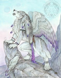 An anthro winged wolf and her raven companion perch on a rocky outcropping, singing to the setting twin moons. Just a little something I did for myself, because I wanted to.  Watercolor and C...