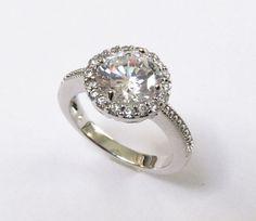 Halo CZ Ring-Rhodium Plated CZ Wedding Ring-Sizes 7 to 9