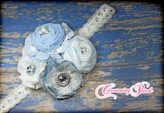 Chambray Baby Blue Headband White Fabric Flower by CrowningPetals, $22.50