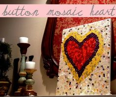 button mosaic on canvas! Been saving extra buttons? Use them to make your own creative art piece :-D