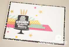 Geburtstagskarte, Party-Grüße, Wassermelone, Minzmakrone, Curry-Gelb
