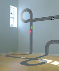 Race track wall decal. Use magnetic paint to play with hot wheels.
