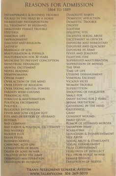 List of reasons for admission into the Trans -Allegheny Lunatic Asylum from the late 1800s. Id be alot of trouble :(