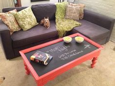 Makeover A Thrift Store Coffee Table With Chalkboard Paint