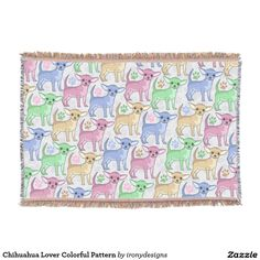Chihuahua Lover Colorful Pattern Throw Blanket