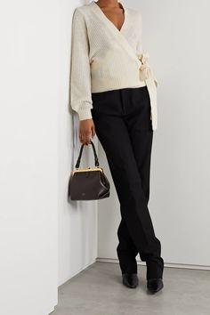 Cream Ribbed-knit wrap cardigan   MICHAEL MICHAEL KORS   NET-A-PORTER Knit Tie, Knit Wrap, Cardigan Outfits, Wrap Cardigan, Fashion Advice, Fashion News, Camisole, Menswear, Michael Kors