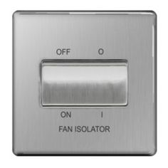 #Colours 10A Stainless Steel Fan Isolator Switch #Colours 10A Stainless Steel Fan Isolator Switch.Screwless flat-plate profile fan isolator switch with brushed stainless steel finish. 1 gang internal switch ideal for controlling 1 circuit. (Barcode EAN=5397007087109)
