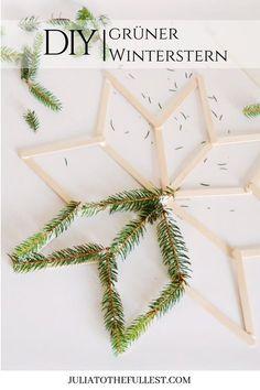 DIY - green winter star with original - DIY - Weihnachten - Basteln Cute Diy Crafts, Kids Crafts, Cute Diys, Easy Crafts, Pot Mason Diy, Mason Jar Crafts, Noel Christmas, Christmas Crafts, Christmas Decorations