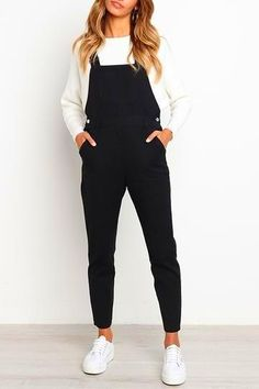 Fall & Winter Fashion Orsle Leisure Black One-piece Jumpsuits winter jumpsuits,denim jumpsuit outfit,striped jumpsuits,profession Jumper Outfit Jumpsuits, Black Denim Jumpsuit, Black Jumpsuit Outfit, Black One Piece Jumpsuit, Jumper Outfit Denim, Denim Romper, Casual Jumpsuit, Casual Winter Outfits, Outfit Winter