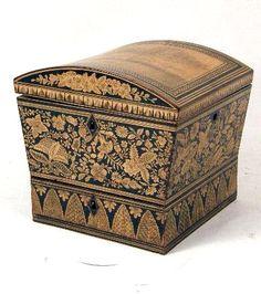 A REGENCY PENWORK SEWING BOX  #antique #vintage #box