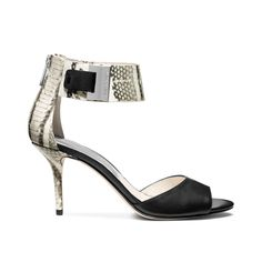 MICHAEL KORS GUILIANA ANKLE STRAP PUMPS BLACKWHITE PRINTED SNAKE