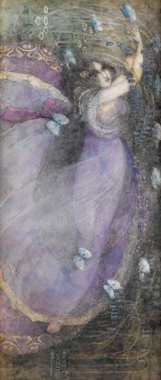 Ophelia by Frances Macdonald, 1898. Watercolour (rotate 90° to the right) | Private collection