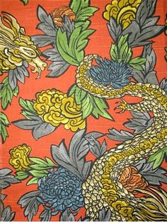 """Ming Dragon Persimmon Dwell Studio Fabric - 100% cotton multi purpose home décor fabric. Dragon & Floral transitional conversational fabric print. Durable 30,000 double rubs- High performance fabric. Repeat; V 27"""", H27"""". 55"""" wide."""