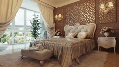 Forme sinuose per gli arredi - Letto con testiera dalle linee curve, ideale per chi desidera una camera da letto vintage