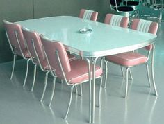 Pink and blue chrome dining set