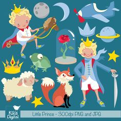 Little Prince Clipart for web graphics, invitations, crafts and more.