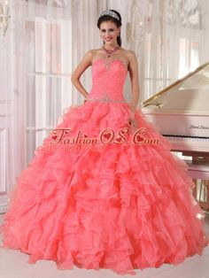 Popular Strapless Watermelon Red Ruffles Beading Unique Quinceanera Dresses for 2015