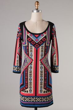 pattern sweater dress #swoonboutique