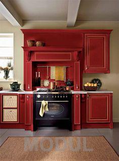 Кухня в красных тонах Oikos Raffaello 06