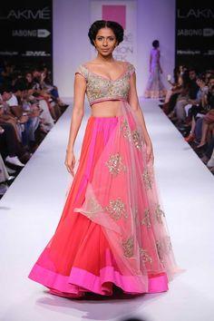 Bright pink colorful lehenga choli by Anushree Reddy at Lakme Fashion Week Winter 2014