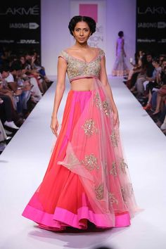 Bright pink colorful lehenga choli by Anushree Reddy at Lakme Fashion Week Winter 2014