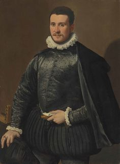 Santi di Tito (Sansepolcro 1536-1602 Florence) Portrait of a gentleman, three-quarter-length, in a black embroidered silk doublet and cloak, with a ruff, holding gloves and a letter in his left hand, a lute on the table oil on poplar panel 42 5/8 x 30 5/8 in. (108.3 x 77.9 cm.)