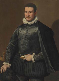 Portrait d'un gentilhomme dans un doublet brodé et d'un manteau de soie noire, avec une collerette, des gants et une lettre dans sa main gauche, un luth sur la table, par Santi di Tito