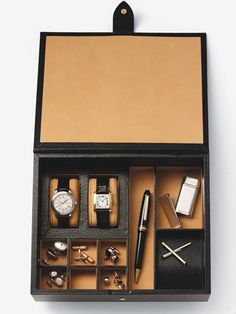 Valet or dressing box...gentlemen, get one. Keep your dresser top/nightstand clear and your significant other happy.
